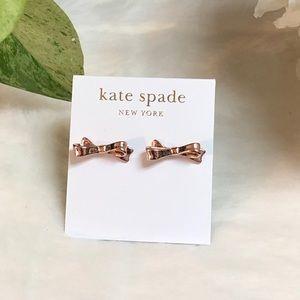 NWT KATE SPADE ♠️ SKINNY ROSE GOLD BOW EARRINGS